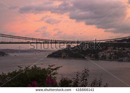 Fatih Sultan Mehmet Bridge and Bosphorus Bridge at Istanbul Bosphorus After Sunset
