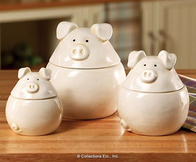 3 Little Pigs Whimsical Kitchen Canister Set Farmyard Whimsy Piggy Ceramic  Jar Decorative Kitchen Table Counter Top Accent Storage Organization  Decoration ...