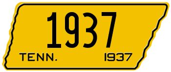 1937 TENNESSEE STATE LICENSE PLATE - EMBOSSED WITH YOUR CUSTOM NUMBER [usatn37] - $95.00 : Custom Front License Plates, Personalized Vanity Auto Plate -LICENSEPLATES.TV