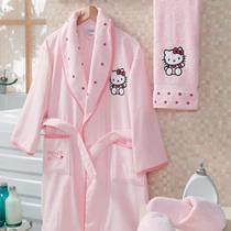 Evdenemoda.Com - SAB EV TEKSTİLİ - Hello Kitty Kutulu Çocuk Bornoz Seti 7-9 Yaş ( Pembe )