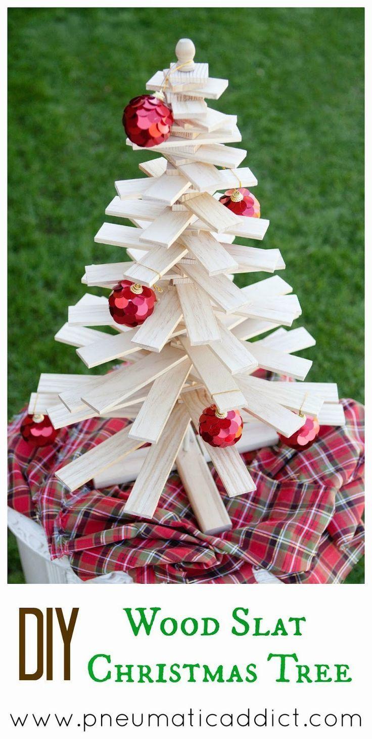 DIY Woodworking Ideas #DIY #Wood Slat #Christmas Tree. 6' tall or #tabletop cut lists available. #diyp...
