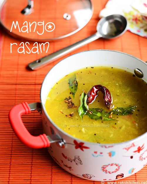 Raw mango rasam/ charu with step by step pictures.