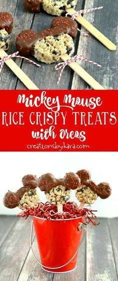 Mickey Mouse Rice Cr Mickey Mouse Rice Crispy Treats with Oreos-...  Mickey Mouse Rice Cr Mickey Mouse Rice Crispy Treats with Oreos- a perfect dessert for Disney fans of all ages. Easy and tasty Disney treat! via creationsbykara.com Recipe : http://ift.tt/1hGiZgA And @ItsNutella  http://ift.tt/2v8iUYW