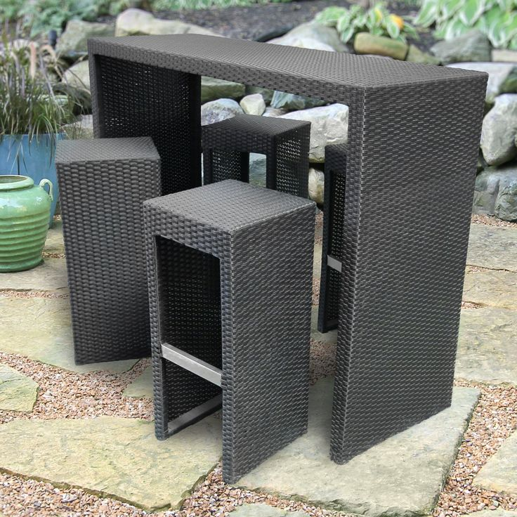 Have to have it. Royal Garden All-Weather Wicker 5 pc. Bar Height Patio Set - Black - $692 @hayneedle