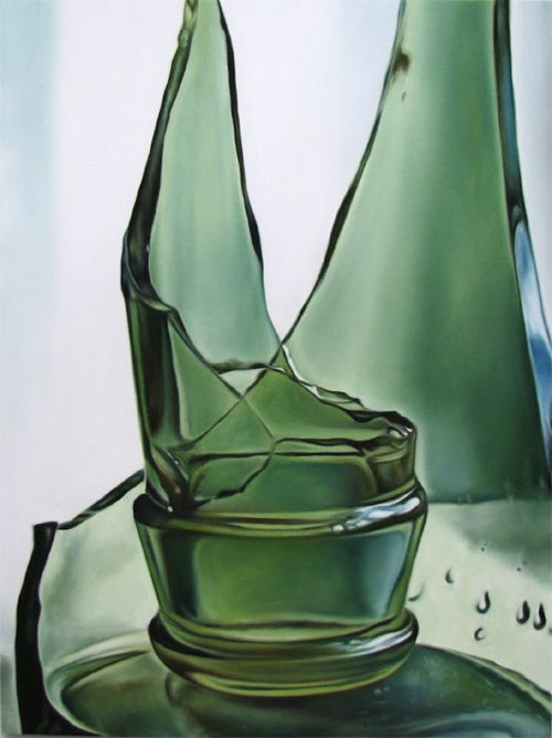 broken green glass bottle photorealism still life