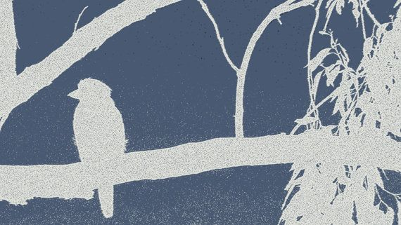 Navy and Gray Bird on Branch Outline by BlackbirdArtDesign on Etsy, $35.00