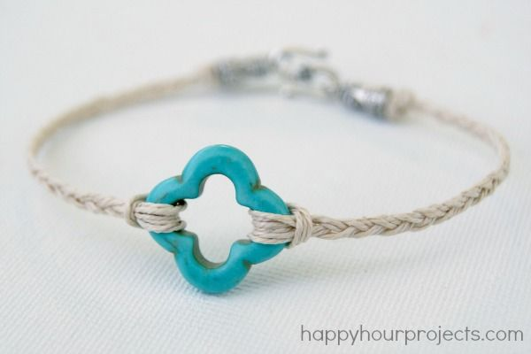 10-minute hemp and stone bead bracelet at www.happyhourprojects.com