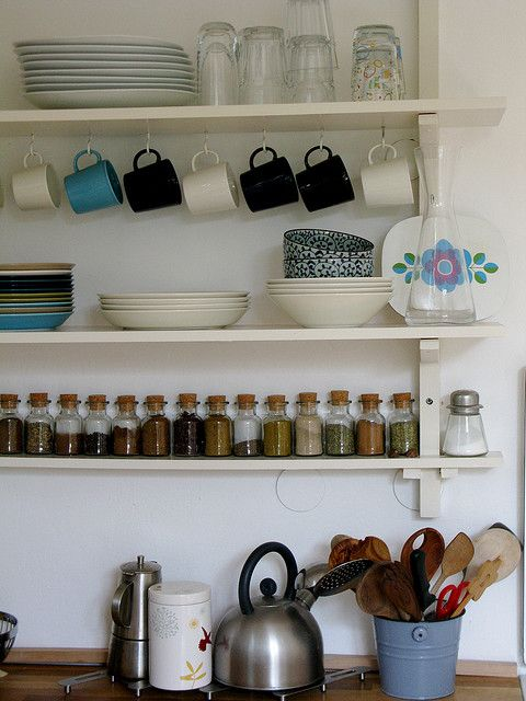 Good way to display kitchenware out in the open without it looking cluttered.