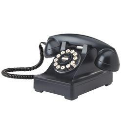 Serie 302, Zwarte Retro Telefoon.    De iconische type 302 telefoon is ontworpen door de productieve industrieel ontwerper Henry Dreyfuss en geïntroduceerd in 1937. Hij gebruikte oor tot mond metingen van 2000 mensen om de ergonomische handset te creëren.