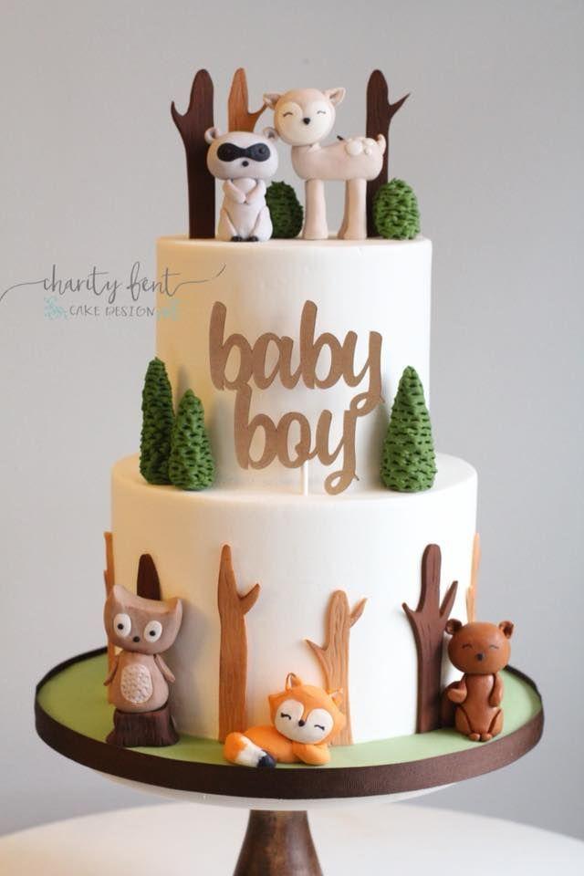 Woodland Animal Themed Babyparty-Kuchen – #Animal #Baby #cake #Shower #Themed