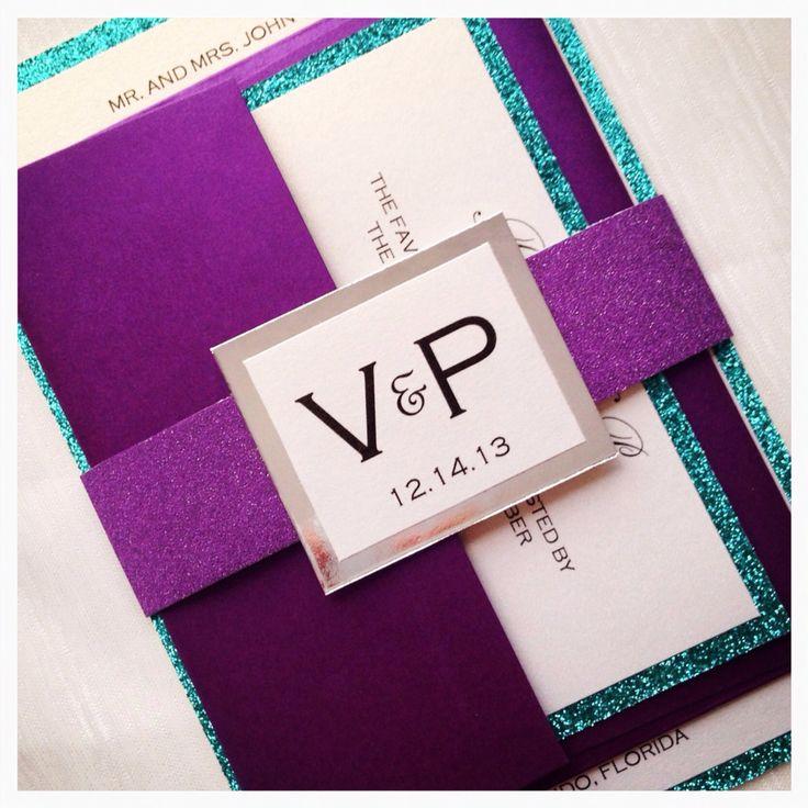 Purple Wedding Invitations And Teal Invitation Glitter Turquoise Sweet 16 Invites