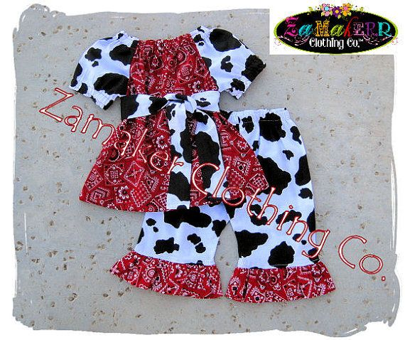 Girl Cow Outfit Set - Girl Farm Birthday Party - Cow N Bandana Top Ruffle Pant Set 3 6 9 12 18 24 month size 2t 2 3t 3 4t 4 5t 5 6 7 8 on Etsy, $47.90 AUD