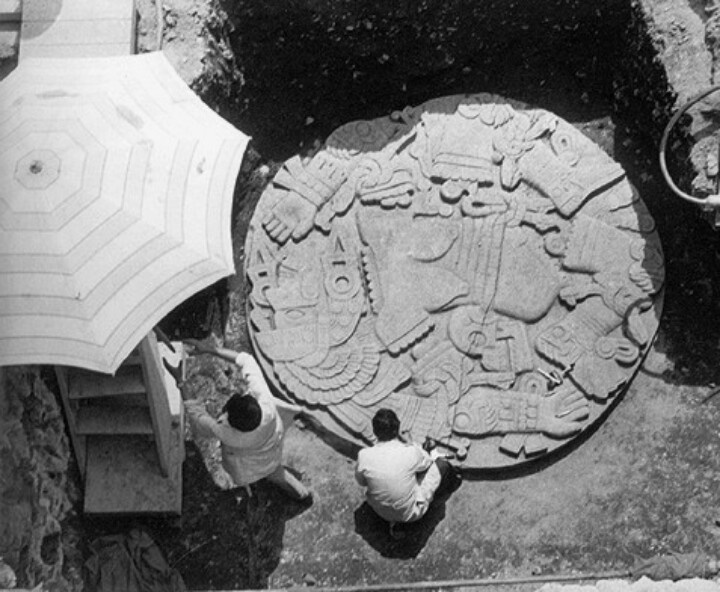 La Coyolxahqui. Nahualt for Moon Goddess. Found underground in Mexico City,1978 by electric light company workers. Modern Mexico City was built over an ancient Aztec city.