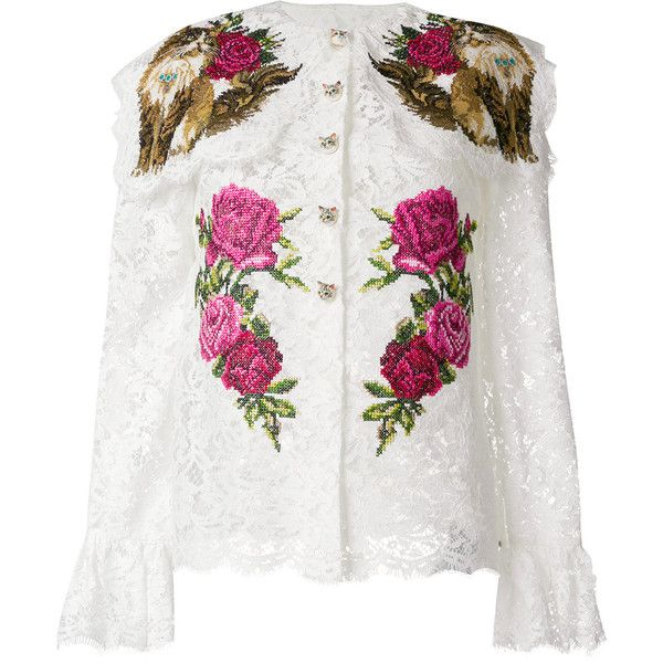 Dolce & Gabbana cat embroidered lace shirt ($4,695) ❤ liked on Polyvore featuring tops, white, floral embroidered shirt, long sleeve shirts, lace top, white lace top and long sleeve lace top