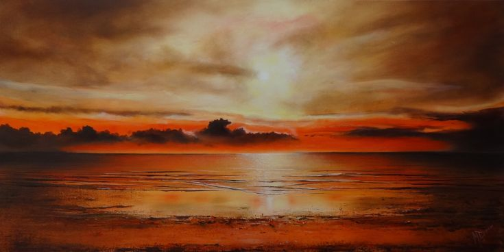 ARTFINDER: Another day ends. by Mel Davies - A stunning sunset by Mel Davies, very warm and atmospheric, a perfect lounge or office piece.  This thought provoking piece comes with signed Certificate of...