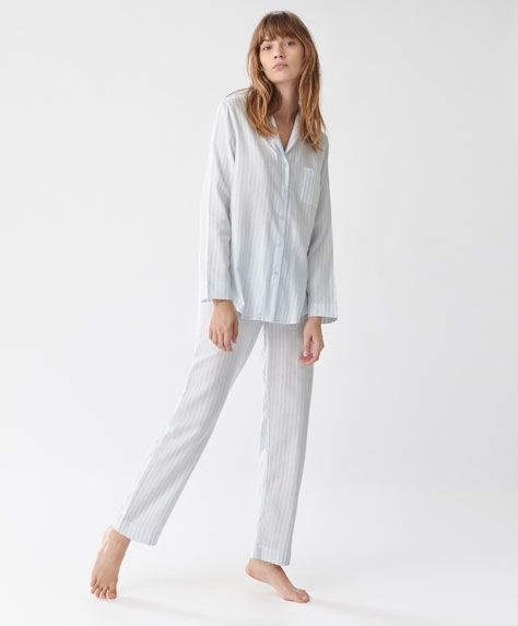 Trousers with blue stripes - View All - Autumn Winter 2016 trends in women fashion at Oysho online. Lingerie, pyjamas, sportswear, shoes, accessories, body shapers, beachwear and swimsuits & bikinis.