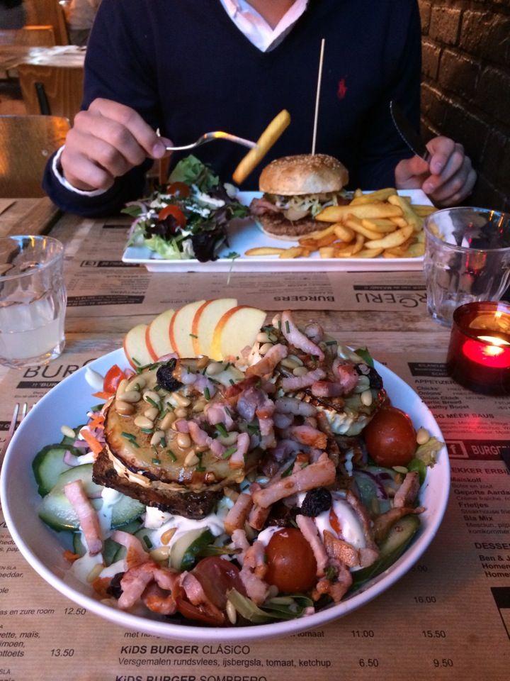 Burgerij http://www.newplacestobe.com/region/antwerp/burgerij-schoten-schoten #hamburger #burger #frenchfries #fries #salad