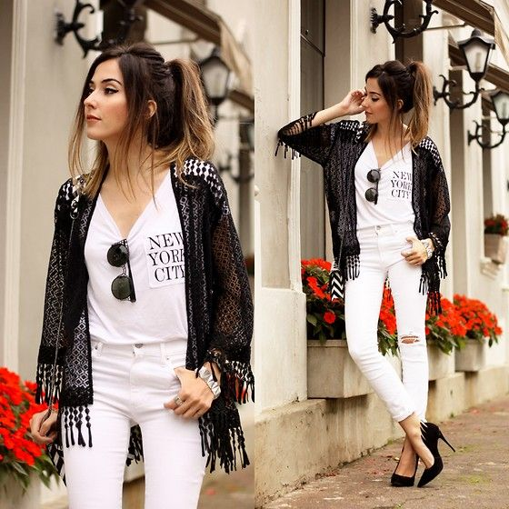 Flávia Desgranges van der Linden - Gap Denim, Slywear Kimono - White and Black