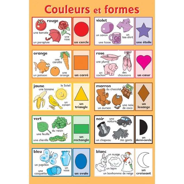 Couleurs et formes, french vocabulary words