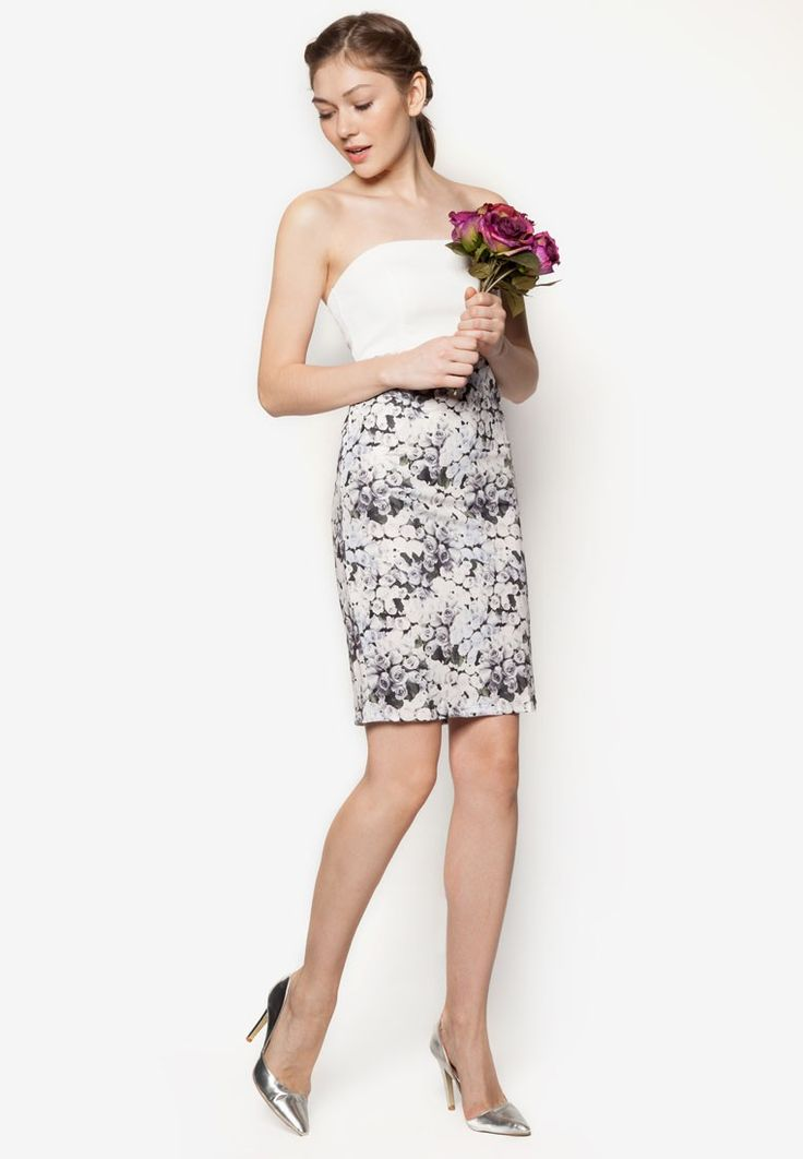 Love Floral Bodycon Bridesmaid Dress from LASH in grey and white and blue and multi_4