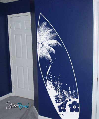 Vinyl Wall Decal Sticker Beach Paradise Surf Board #329   Stickerbrand wall art decals, wall graphics and wall murals.
