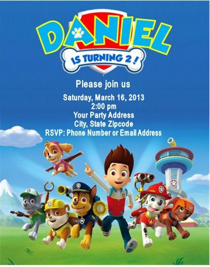 Paw Patrol Birthday Party Invitations by DannisCuteCreations