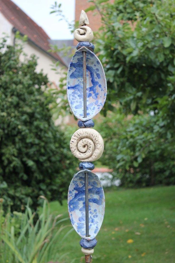 Gartenstele handgetöpfert und glasiert♥ohne Stab♥Stele♥Gartendeko blau/weiß de.picclick.com