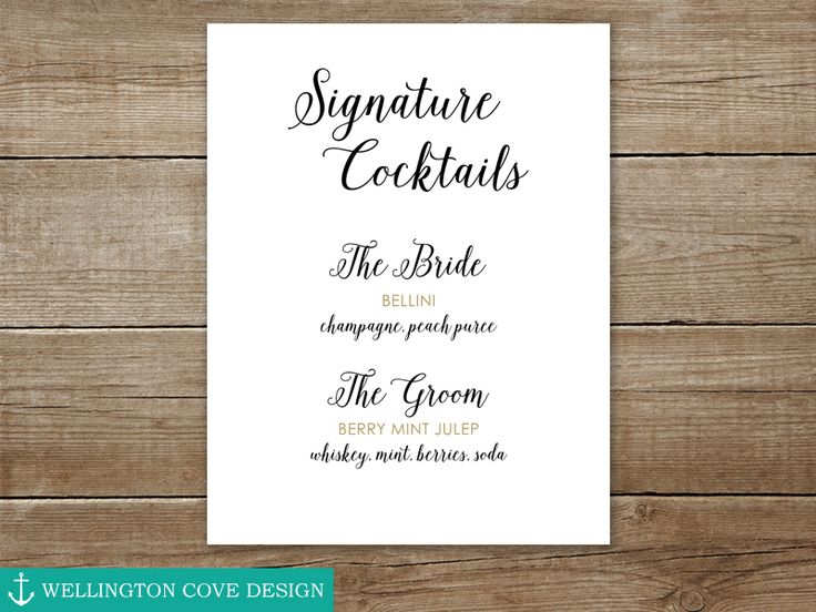 Printable Bride and Groom Signature Cocktails Wedding Drink Sign Using Your Own Drinks by WellingtonCoveDesign on Etsy