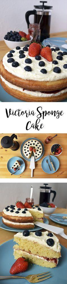 Receta fácil para un Victoria Sponge Cake, pastel típico británico. Bizcocho esponjoso con relleno de crema y mermelada.
