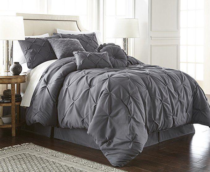 Amazon Com Chezmoi Collection Sydney 7 Piece Pintuck Bedding Comforter Set King Gray Home Kitchen Comforter Sets Pintuck Comforter Comforters