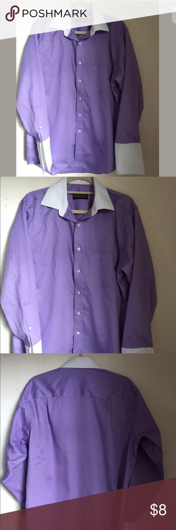 "Donald J. Trump Purple Dress Shirt Men 151/2 32/33 Donald J. Trump Signature Collection Purp Dress Shirt Mens 15 1/2 32/33 Non Iron Descriptions: Brand- Donald J. Trump Tag Size- 15 1/2 or 32-33 Color- Purple and White Made in Bangladesh No Iron Shirt, Regular Fit Pet Free Smoke Free Stain spots on right sleeve, can be use with jacket to cover stain spotsSee last Picture. Measurements: Shoulder To Shoulder- 19"" Sleeve- 28"" Chest- (Lying Flat)- 24"" Length- 29""  Thank You for Shopping at…"