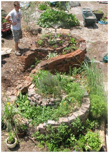 Susan and Peter Horn's double spiral compost garden.