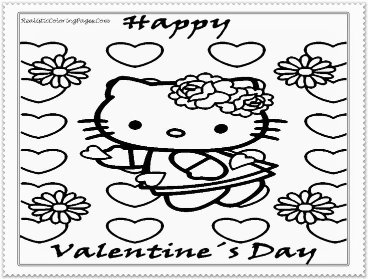 Valentine Coloring Sheets Hello Kitty Archives