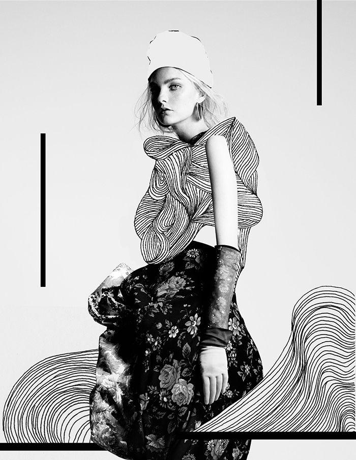 Mixed Media Fashion Collage by Rebecca Coltorti | Model: Caroline Trentini Ph: Willy Vanderperre