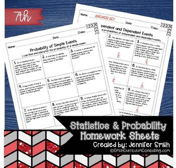 Seventh Grade Math Homework Sheets- Statistics and Probability