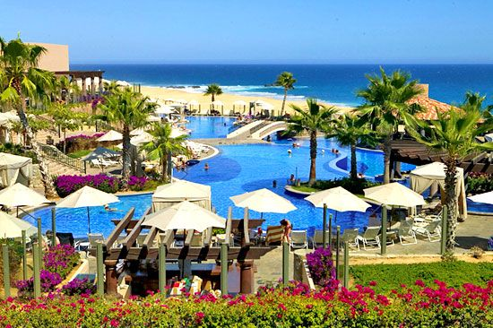 Pueblo Bonito Sunset Beach, Cabo San Lucas.  The main swimming pool.