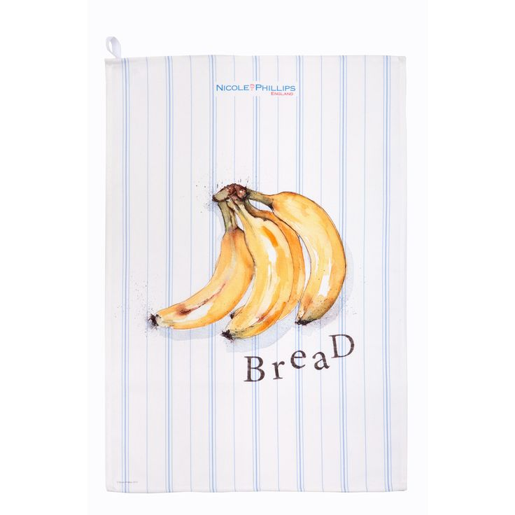 Nicole Phillips England artisan Banana Bread Tea Towel. Nicole Phillips designs and makes beautiful fine textile ranges that add accents of creativity and colour for your home and kitchen. Designed and made in England to the highest print and quality standards. http://www.nicolephillips.com/collections/tea-towels/products/banana-bread-tea-towel #baking