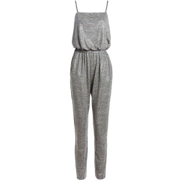 Sans Souci Metallic foil slinky jumpsuit ($49) ❤ liked on Polyvore featuring jumpsuits, silver, jump suit, sans souci and metallic jumpsuit