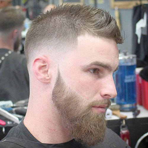 Balding Hairstyles   Mid Fade With Faux Hawk And Beard