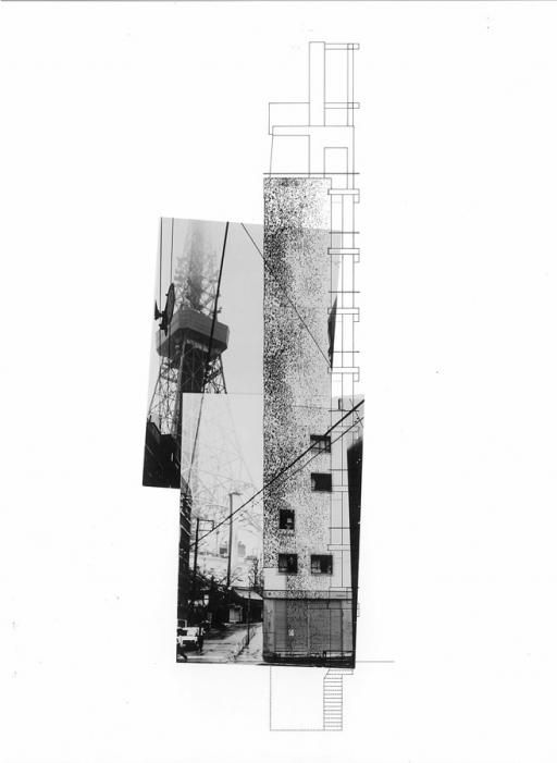 Morphosis Architects, Higashi Azabu Office Building Conceptual Drawing, 1989 - 1991