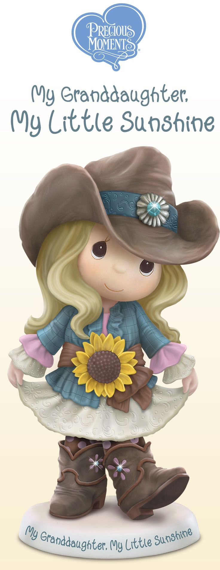 Bring home a little ray of sunshine and adorable country charm with this perfect Precious Moments granddaughter figurine!