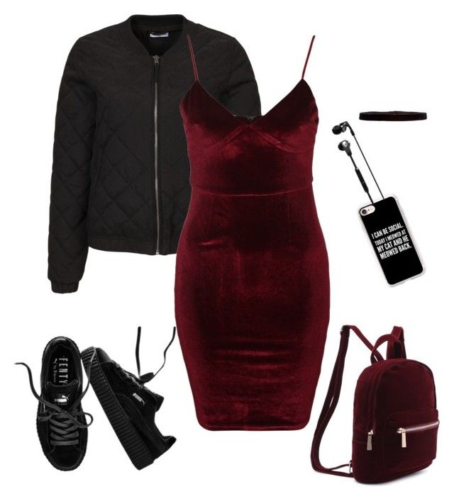 """bordogrundge"" by moumantai13 ❤ liked on Polyvore featuring Jacqueline De Yong, Glamorous, Puma, Steve Madden, Handle, Casetify and Skullcandy"