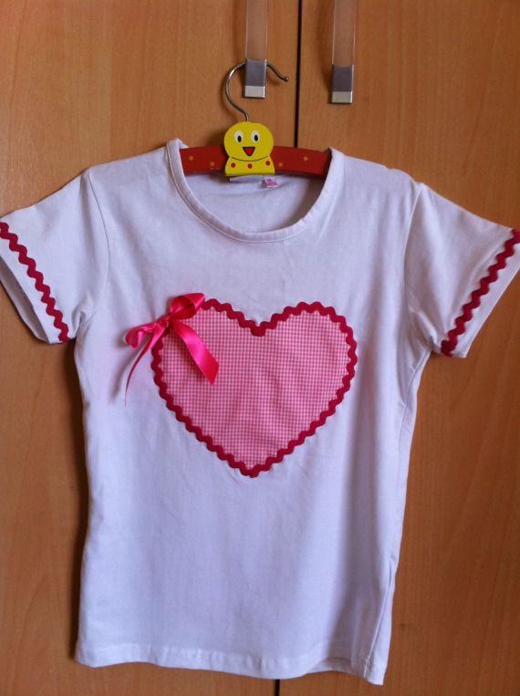 Camiseta corazon niña / Pacharron de colores - Artesanio