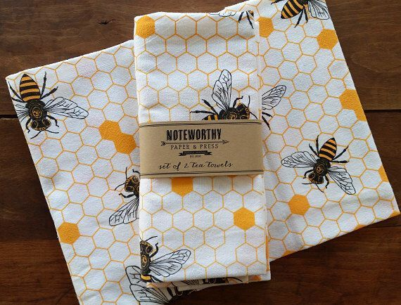 Honey Bee Tea Towels, Set of 2 by NoteworthyPaperPress on Etsy
