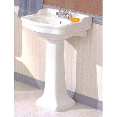 Cheviot Antique Pedestal Sink Lavatory   4 Inch Faucet Drillings 22 1/4 W X