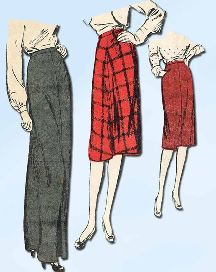 1940s Vintage Advance Sewing Pattern 2900 Uncut Misses Day or Night Skirt Sz 26W