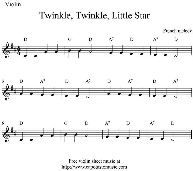 Twinkle Twinkle Little Star Free Sheet Music For Piano: Twinkle Twinkle Little Star Note