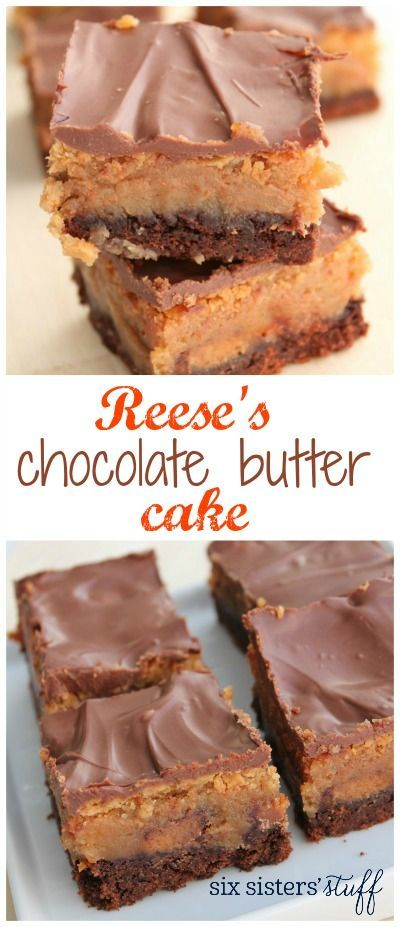 Reese's Chocolate Butter Cake on SixSistersStuff.com | This cake recipe is a hit with chocolate peanut butter lovers! It's dense, rich, and loaded with Reese's peanut butter cups!