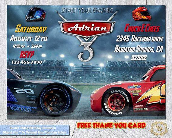 ♥ Welcome to Mary's Digital Creations ♥ Cars 3 Birthday Invitation.Cars 3 Invitation. Cars 3 Party Invitation.Personalized Birthday Invitation.Invitations.Cars 3 Invitations.Cars 3 Celebrate Your Little One With This Awesome Cars 3 Inspired Double Sided Birthday Invitation. ~ FREE DIGITAL THANK YOU CARD ~ •••••••••• ♥ ATTENTION ♥ •••••••••• ••• ♥ Please read shop policies before purchasing ♥ •••••••••• ••• ♥ This listing will be made as a 5x7, UNLESS OTHERWISE STATED IN THE NOTES T...