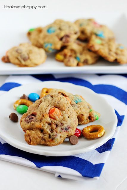 Chunky Chocolate Chip Cookies are loaded with chocolate chips, pretzel pieces and M&M's!